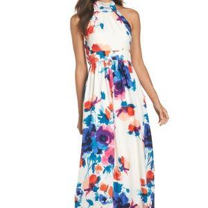 Eliza j s16 floral halter neck maxi dress lined